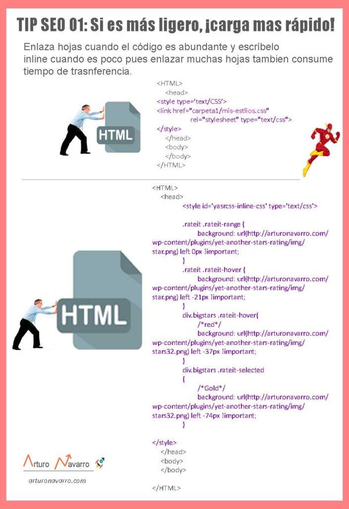TIP SEO 2 no enlaces muchas hojas CSS, escribe inline
