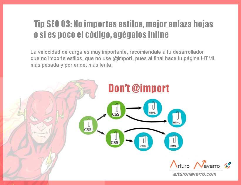 Tip SEO 3 No usar @import