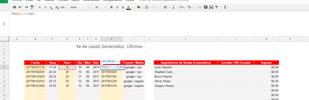 Key para google sheets y gmail