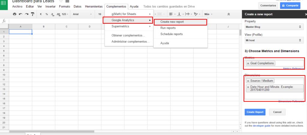 Reporte de Google Analytics con addon API