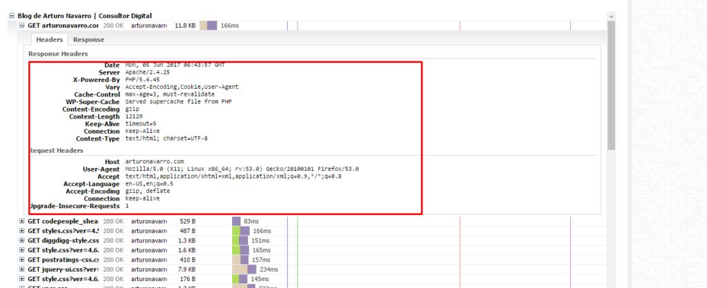 análisis cabeceras http en gtmetrix