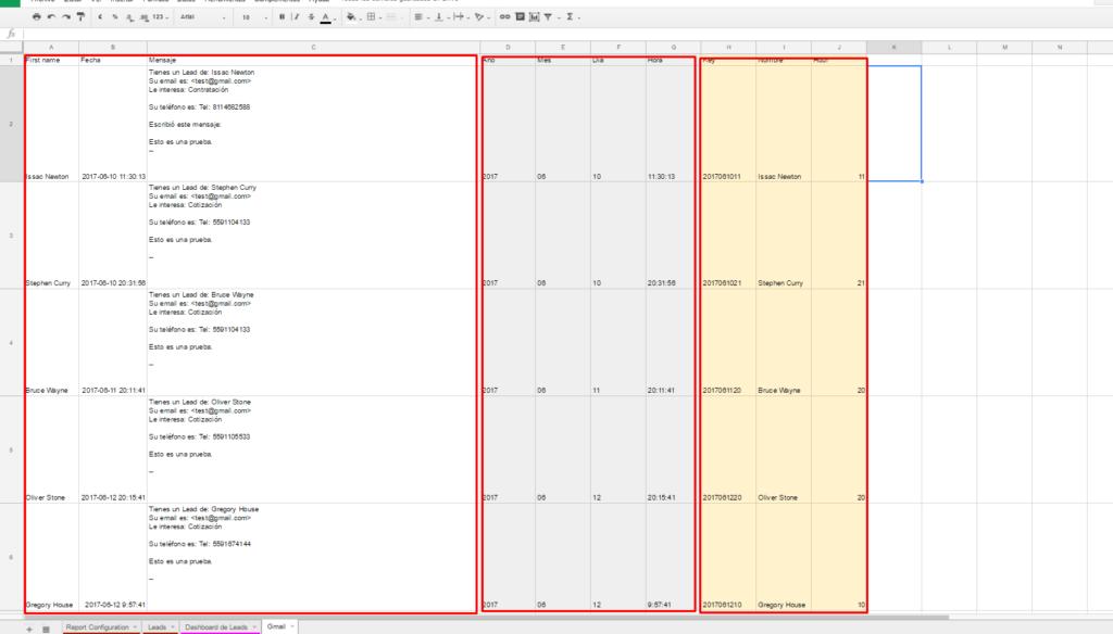 zapier exportacion de datos a google sheets