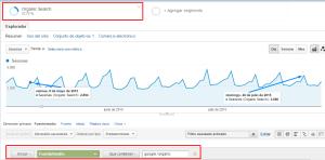 Filtro Organic search Google