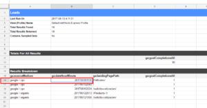 Hoja de Google sheets leads