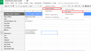 correr reporte de Google Analytics en google sheets