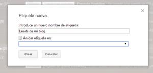 etiqueta gmail para zapier y google sheets